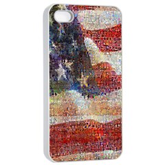 Grunge United State Of Art Flag Apple iPhone 4/4s Seamless Case (White)