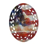 Grunge United State Of Art Flag Oval Filigree Ornament (2-Side)  Back
