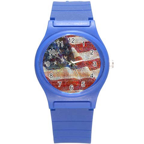 Grunge United State Of Art Flag Round Plastic Sport Watch (S)