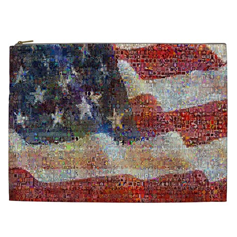 Grunge United State Of Art Flag Cosmetic Bag (XXL)