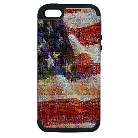 Grunge United State Of Art Flag Apple iPhone 5 Hardshell Case (PC+Silicone)