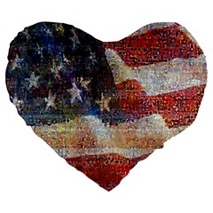 Grunge United State Of Art Flag Large 19  Premium Heart Shape Cushions