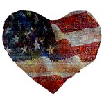 Grunge United State Of Art Flag Large 19  Premium Heart Shape Cushions Front