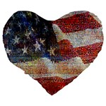 Grunge United State Of Art Flag Large 19  Premium Heart Shape Cushions Back