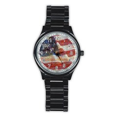 Grunge United State Of Art Flag Stainless Steel Round Watch