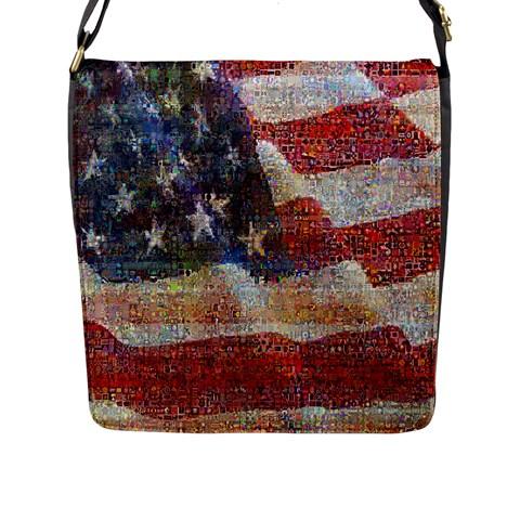 Grunge United State Of Art Flag Flap Messenger Bag (L)