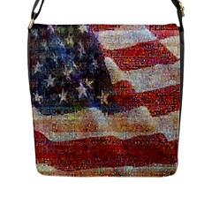 Grunge United State Of Art Flag Flap Messenger Bag (L)