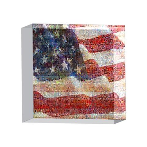 Grunge United State Of Art Flag 4 x 4  Acrylic Photo Blocks