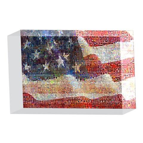 Grunge United State Of Art Flag 4 x 6  Acrylic Photo Blocks