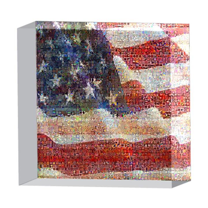 Grunge United State Of Art Flag 5  x 5  Acrylic Photo Blocks