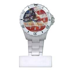 Grunge United State Of Art Flag Plastic Nurses Watch