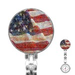 Grunge United State Of Art Flag Stainless Steel Nurses Watch Front