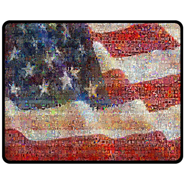 Grunge United State Of Art Flag Double Sided Fleece Blanket (Medium)