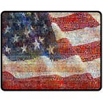 Grunge United State Of Art Flag Double Sided Fleece Blanket (Medium)  60 x50 Blanket Back
