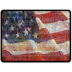Grunge United State Of Art Flag Double Sided Fleece Blanket (Large)
