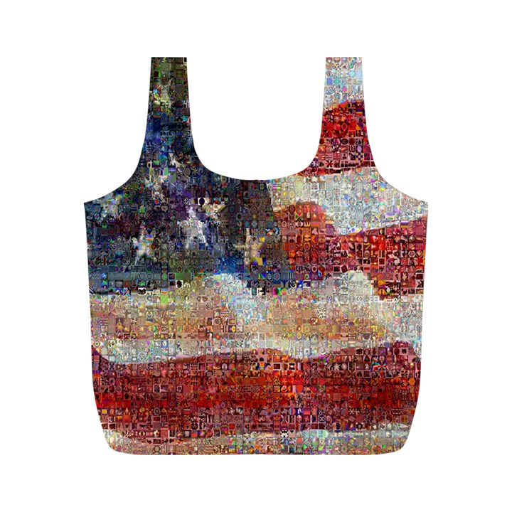 Grunge United State Of Art Flag Full Print Recycle Bags (M)