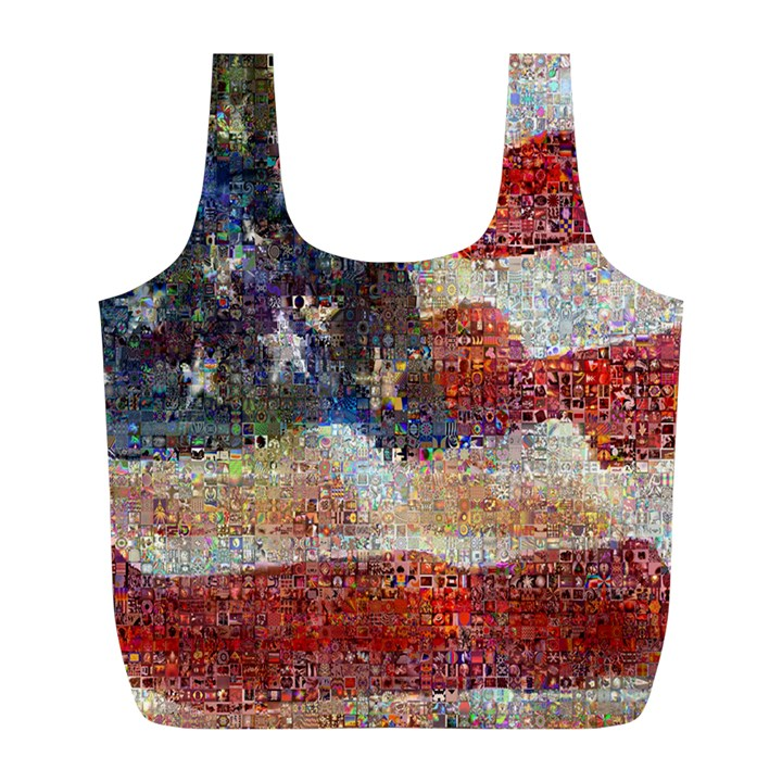 Grunge United State Of Art Flag Full Print Recycle Bags (L)