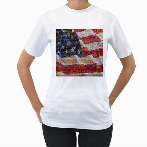 Grunge United State Of Art Flag Women s T-Shirt (White)