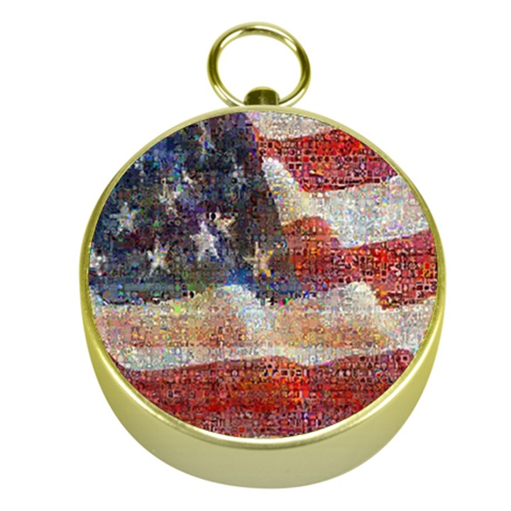 Grunge United State Of Art Flag Gold Compasses