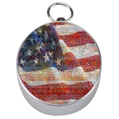 Grunge United State Of Art Flag Silver Compasses
