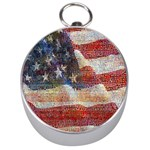 Grunge United State Of Art Flag Silver Compasses Front