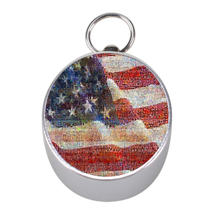 Grunge United State Of Art Flag Mini Silver Compasses