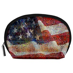 Grunge United State Of Art Flag Accessory Pouches (Large)