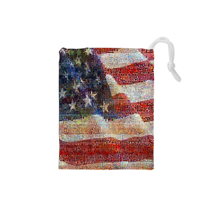 Grunge United State Of Art Flag Drawstring Pouches (Small)
