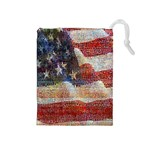 Grunge United State Of Art Flag Drawstring Pouches (Medium)  Front