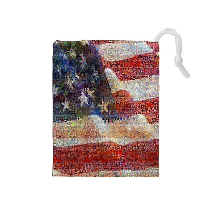 Grunge United State Of Art Flag Drawstring Pouches (Medium)