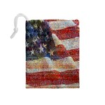 Grunge United State Of Art Flag Drawstring Pouches (Medium)  Back