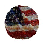 Grunge United State Of Art Flag Standard 15  Premium Flano Round Cushions Front