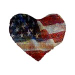 Grunge United State Of Art Flag Standard 16  Premium Flano Heart Shape Cushions Front