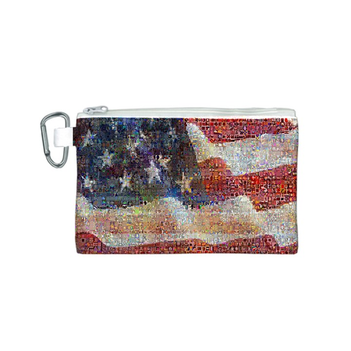 Grunge United State Of Art Flag Canvas Cosmetic Bag (S)