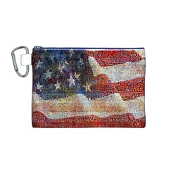 Grunge United State Of Art Flag Canvas Cosmetic Bag (M)