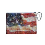 Grunge United State Of Art Flag Canvas Cosmetic Bag (M) Back