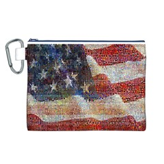 Grunge United State Of Art Flag Canvas Cosmetic Bag (L)