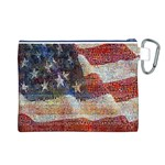 Grunge United State Of Art Flag Canvas Cosmetic Bag (L) Back