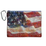 Grunge United State Of Art Flag Canvas Cosmetic Bag (XL) Front