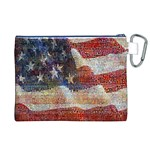 Grunge United State Of Art Flag Canvas Cosmetic Bag (XL) Back
