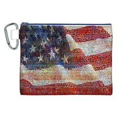 Grunge United State Of Art Flag Canvas Cosmetic Bag (XXL)