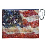 Grunge United State Of Art Flag Canvas Cosmetic Bag (XXL) Back