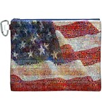 Grunge United State Of Art Flag Canvas Cosmetic Bag (XXXL) Front