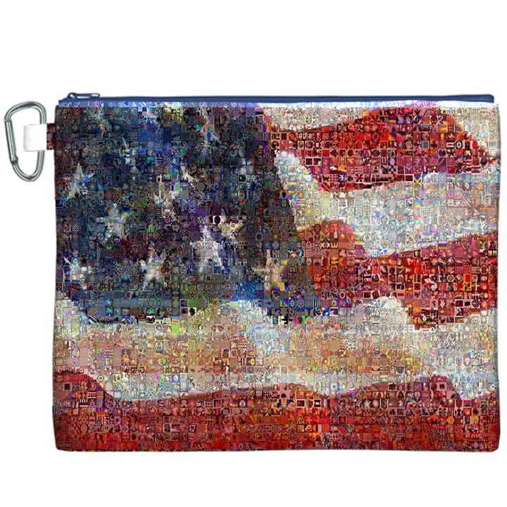 Grunge United State Of Art Flag Canvas Cosmetic Bag (XXXL)