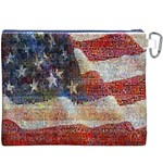 Grunge United State Of Art Flag Canvas Cosmetic Bag (XXXL) Back