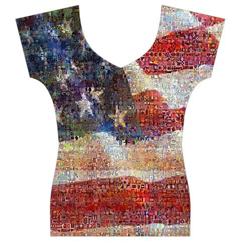 Grunge United State Of Art Flag Women s V-Neck Cap Sleeve Top