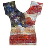 Grunge United State Of Art Flag Women s V-Neck Cap Sleeve Top Front