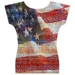 Grunge United State Of Art Flag Women s V-Neck Cap Sleeve Top Back