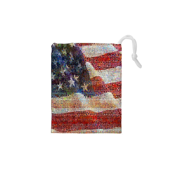 Grunge United State Of Art Flag Drawstring Pouches (XS)