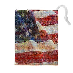 Grunge United State Of Art Flag Drawstring Pouches (Extra Large)